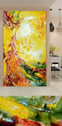 抽象黄色水彩玄关装饰画