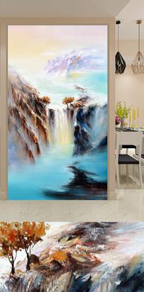 抽象山水瀑布玄关装饰画