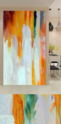抽象水彩玄关装饰画