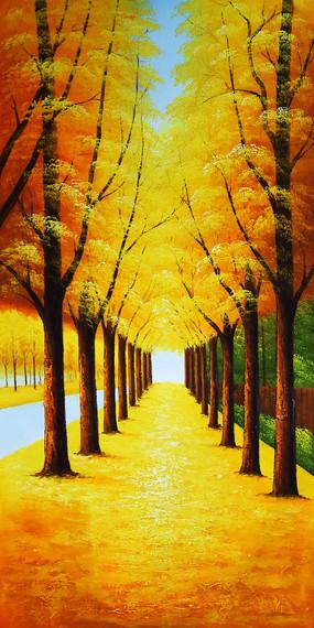 高清手绘金色大道发财树玄关