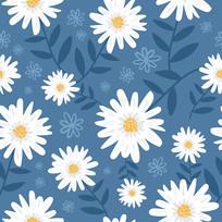 卡通白色雏菊印花图案