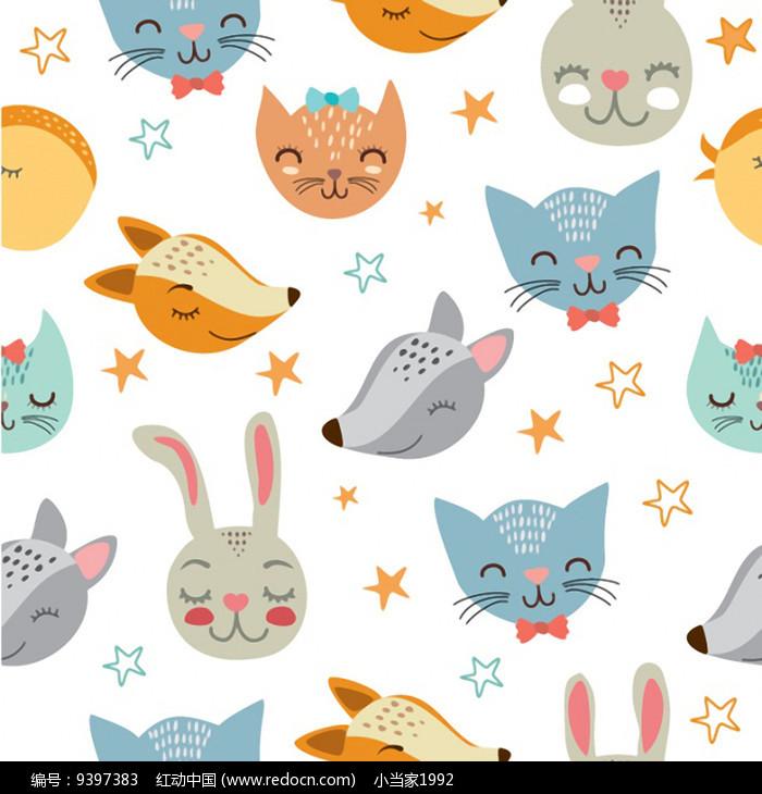 卡通动物印花墙纸图案图片