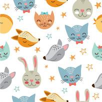 卡通动物印花墙纸图案