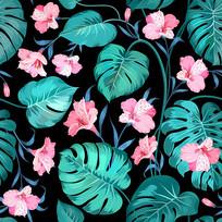 卡通手绘花朵绿叶印花图案