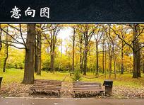 秋天落叶公园长椅