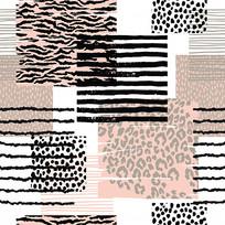 手绘豹纹连衣裙印花图案