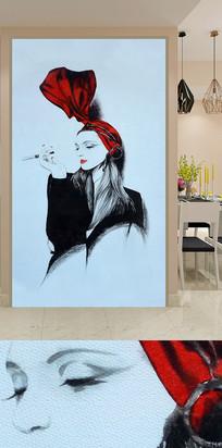 手绘抽烟时尚美女玄关装饰画