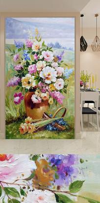 手绘花瓶花卉玄关装饰画