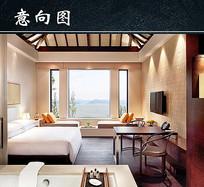 现代简约中式民宿设计