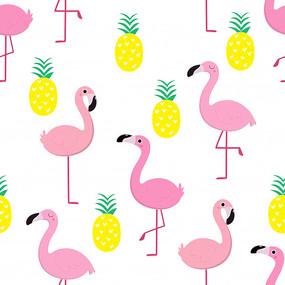 小清新粉色火烈鸟印花图案
