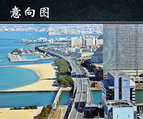 海滨城市海岸风光