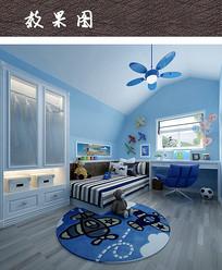 蓝色梦想儿童卧室效果图