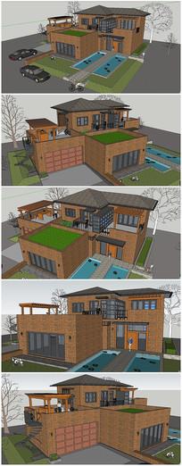 欧式风格别墅建筑SU模型