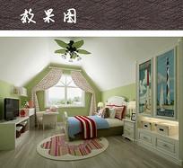 清爽绿色儿童卧室设计