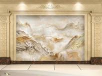 山水大理石石纹电视背景墙