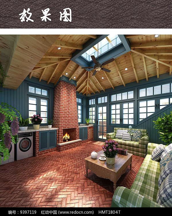 田园风格阁楼空间效果图图片