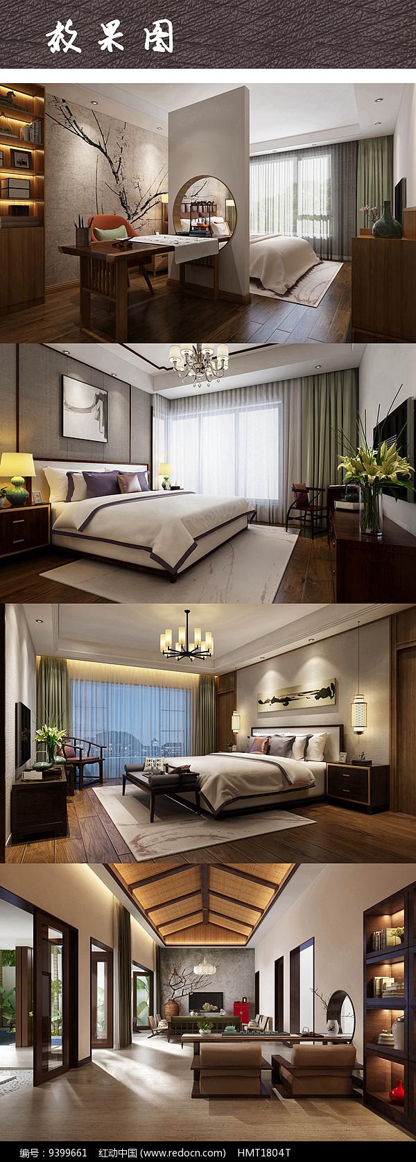 现代中式别墅三室一厅效果图图片