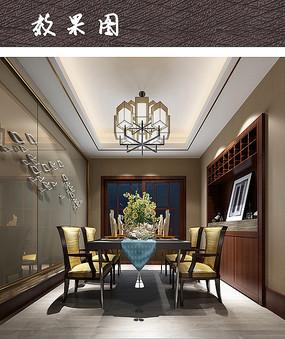 现代中式装修餐厅空间效果图