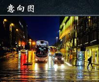 雨后城市街头夜景