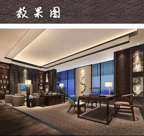 中式古韵办公书房设计 JPG
