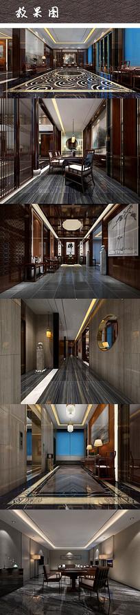 中式禅意豪华别墅室内效果图