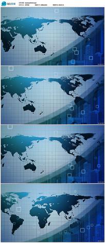 4k蓝色世界地图背景视频