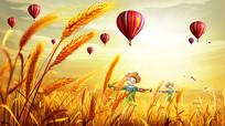 稻草人降落伞小麦金黄色