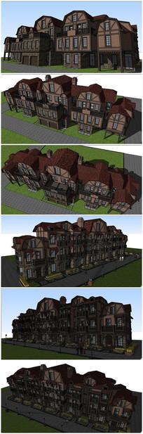 德式风格别墅建筑群SU模型