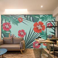热带植物装饰画背景墙