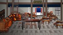 同福客栈古代饭店桌椅