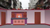 小品面馆饭店舞台背景 PSD