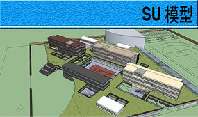 一所中学建筑设计模型