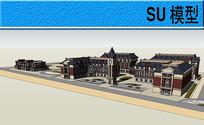 欧式学校建筑模型