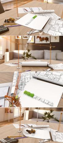 三维建筑图纸logo片头模板