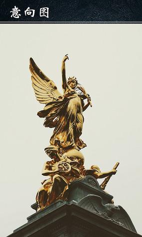白金汉宫胜利女神雕塑图