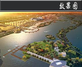滨湖住宅生态科普教育鸟瞰图