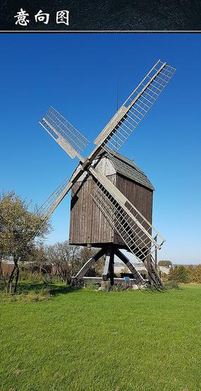 草地上风车图