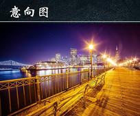 城市江边灯光夜景图