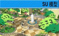 雕塑水池广场景观模型