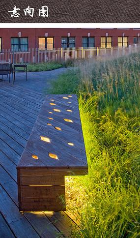 木质镂空发光公共坐凳