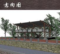 木质两层观景廊架效果图 JPG