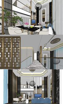奢华客餐厅室内设计SU模型