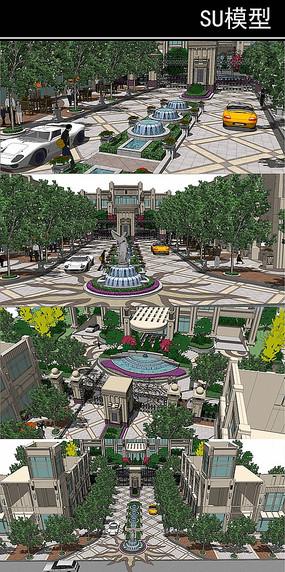 特制欧式喷泉水景的会所