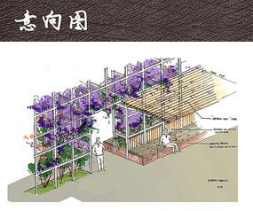 休闲花墙广场景观手绘图