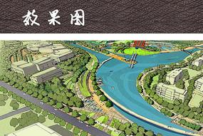 滨水公园景观鸟瞰图