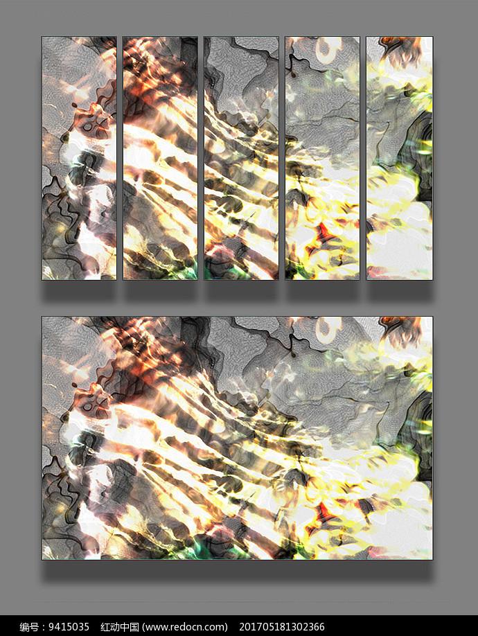 彩色线条山脉装饰画图片