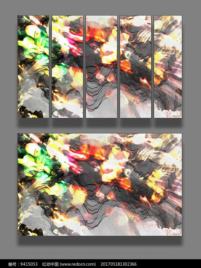抽象彩色线条壁画图片