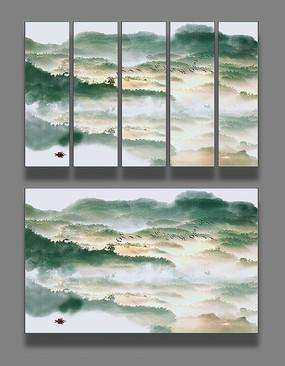 抽象山水国画装饰画