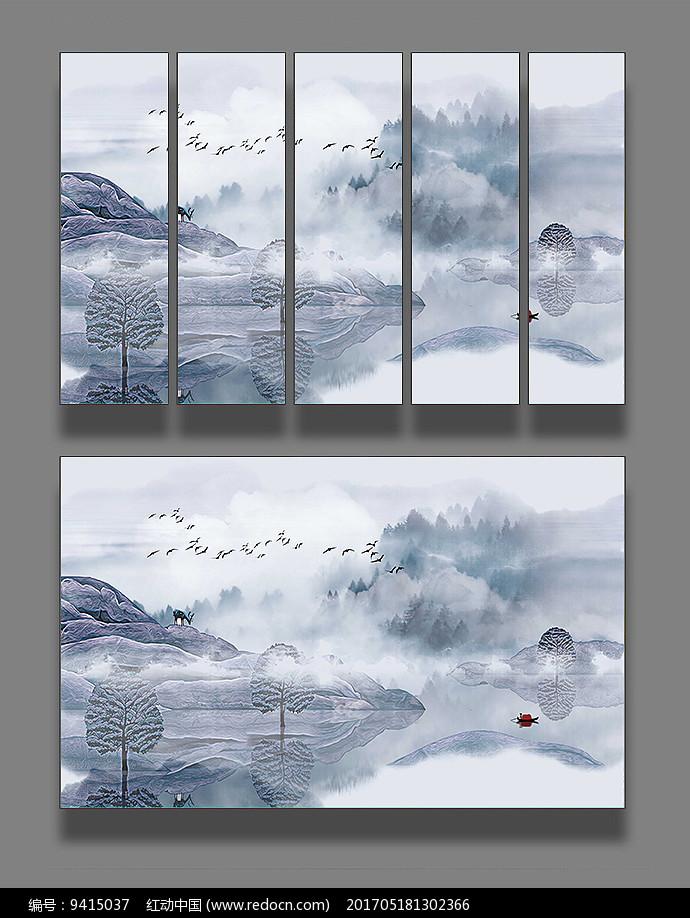 抽象山水装饰画图片