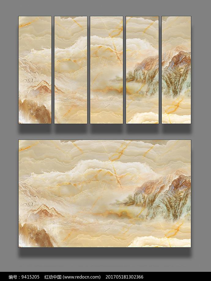 大理石纹抽象山水画图片